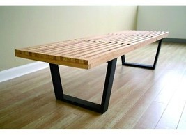 Mid-Century Retro Wood Nelson Style Slat Bench Coffee Table 5ft (Free Sh... - $175.00