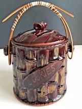 Vintage Cookie Jar Bamboo Look Tiki Brown Bamboo Handle - $24.70