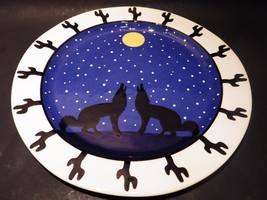 "TerWare Large Hand Painted Plate Howling Wolves Moon Starry Sky 13.25"" - $48.37"