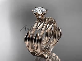 Nature inspired wedding ring set, 14k rose gold engagement set with a Mo... - $1,370.00