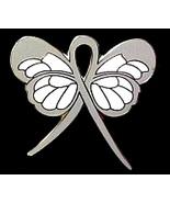 Stalking Lapel Pin Gray Awareness Ribbon Butter... - $10.97