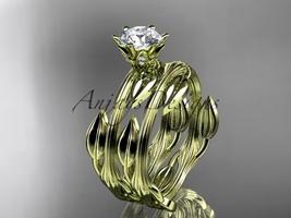 Nature inspired leaf wedding ring set,14k yellow gold engagement set wit... - $1,370.00