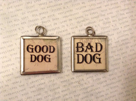 2 sided charm tag in metal frame vintage style - Goog dog / Bad dog