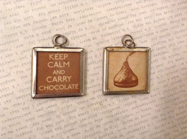 2 sided charm tag in metal frame vintage style - Keep Calm Carry Chocolate