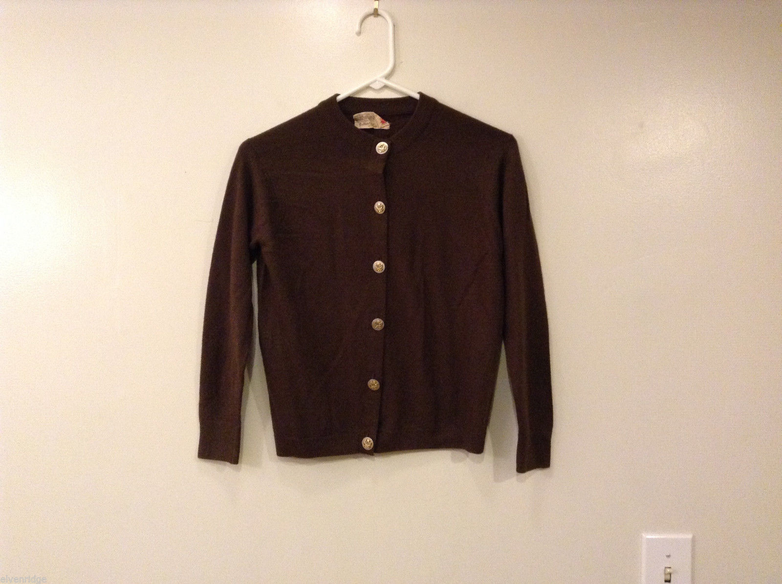 Bullock's Wilshire Brown Cardigan Sweater 100% Cashmere Front Buttons, size S