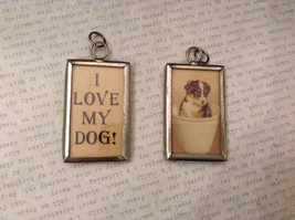 2 sided charm tag in metal frame vintage style - I love my dog / Puppy in a cup