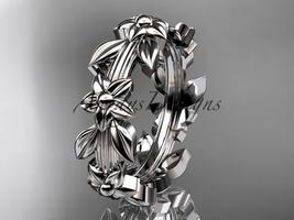 Platinum leaf wedding ring, engagement ring, wedding band ADLR316G - $1,250.00