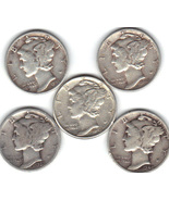 Five Mercury dimes ..Lot 1 - €16,92 EUR