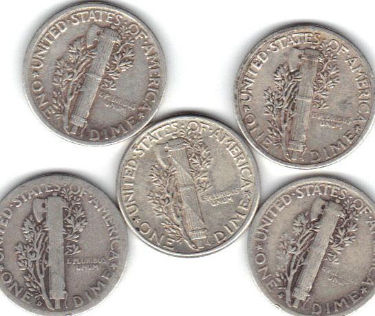 Five Mercury dimes ..Lot 1
