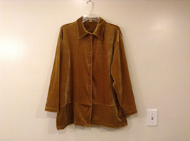 Fashion Bug Velvet Brown with Gold Hue Shirt Cardigan Sweater Blouse, size L