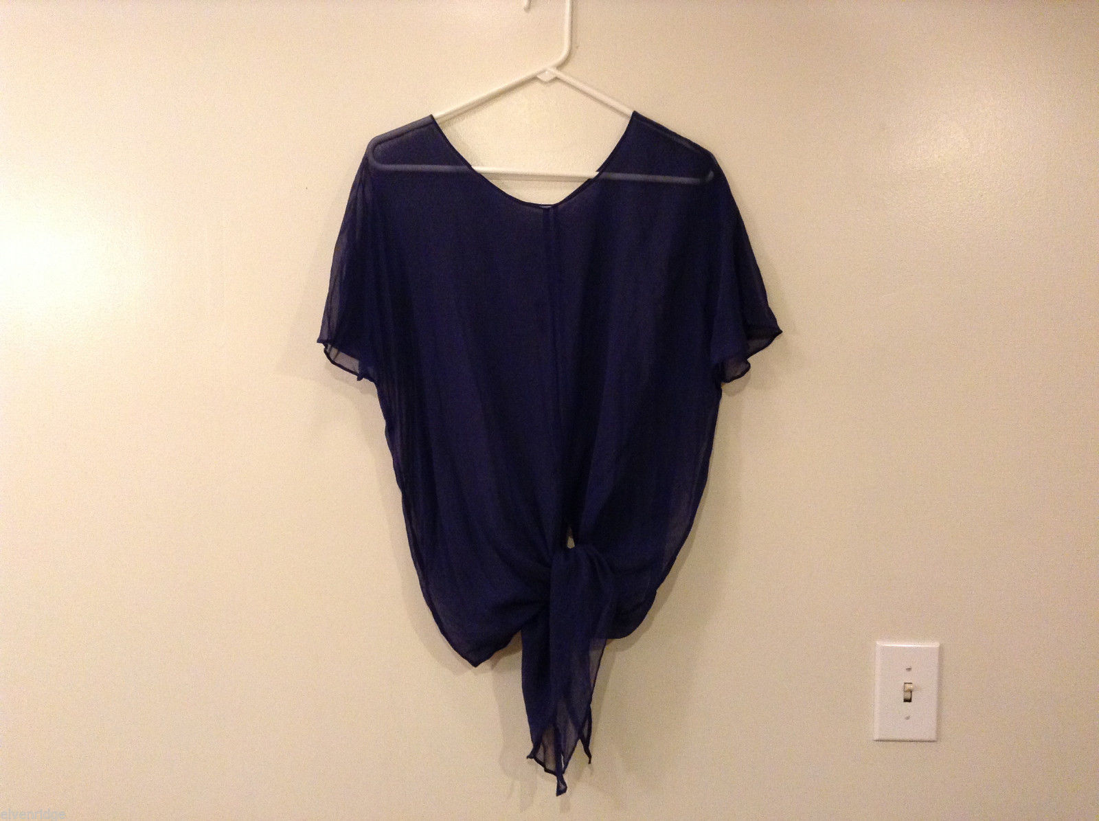 Ladies Handmade (no brand name) Dark Blue Sheer Cover Up Blouse, Size XL NO tag