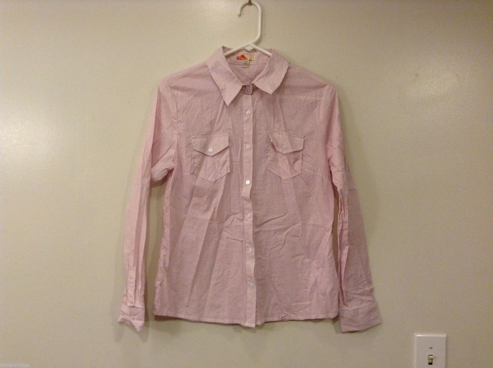 Forever 21 White w. Tiny Pink Stripes Cotton Shirt Blouse Front Buttons, size M