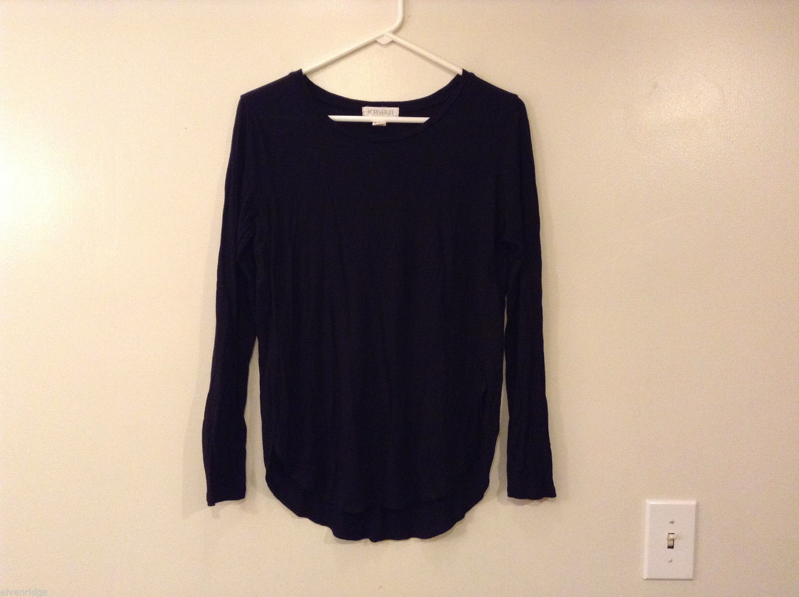 Forever 21 Black Rayon Spandex Long Sleeve T-Shirt Blouse, Size L