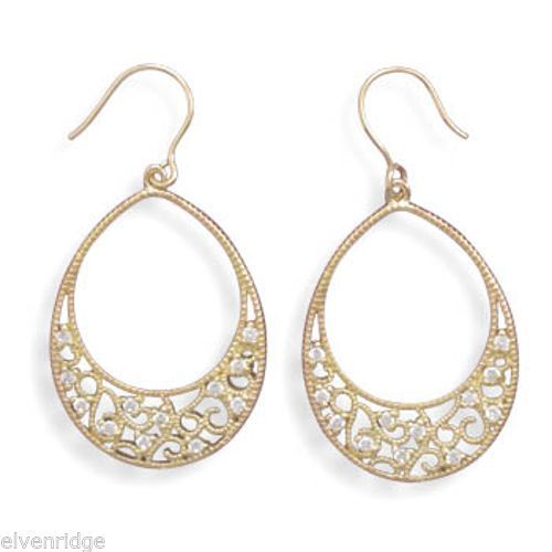 Gold Plated Sterling Silver Oval Filigree Earrings Sterling Silver