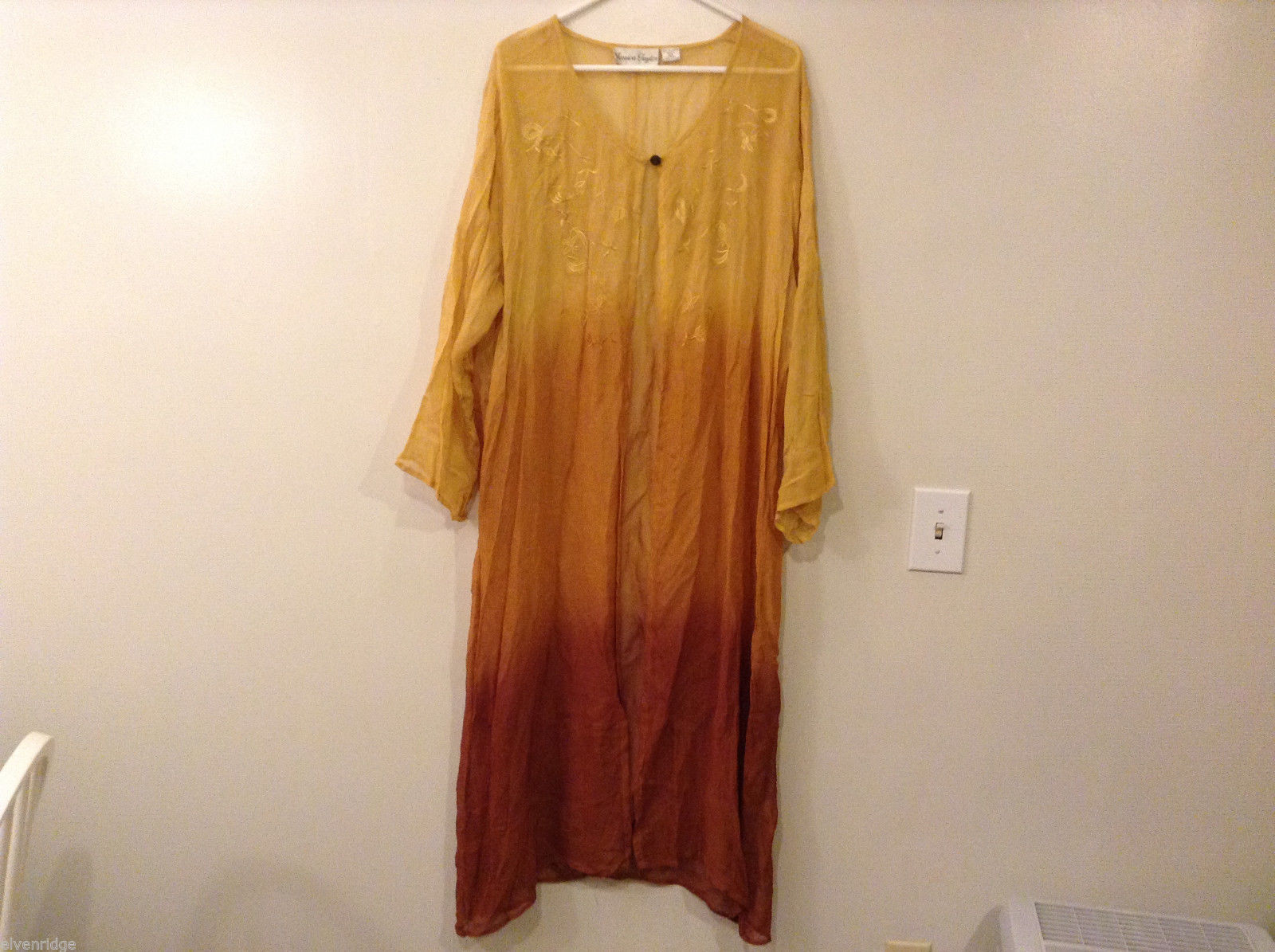 Jessica Taylor 3 Tone Color V-neck Long Cover Up Blouse 100% polyester, size 2X