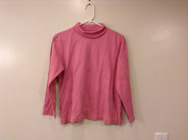 Lands' End Women's Petite Pink Cotton Sweater Turtleneck Top Size L (14-16)