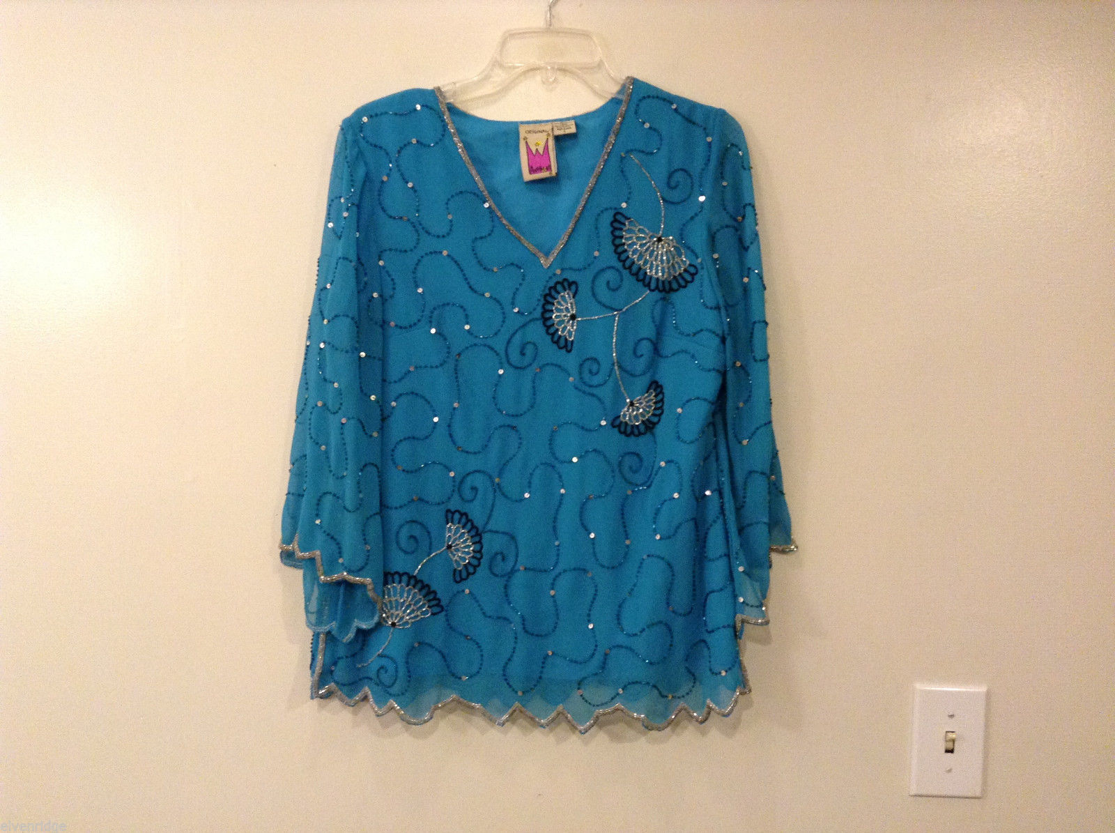 Original Antthony Turquoise Blue Beaded Floral Embroidery V-neck Blouse, size S