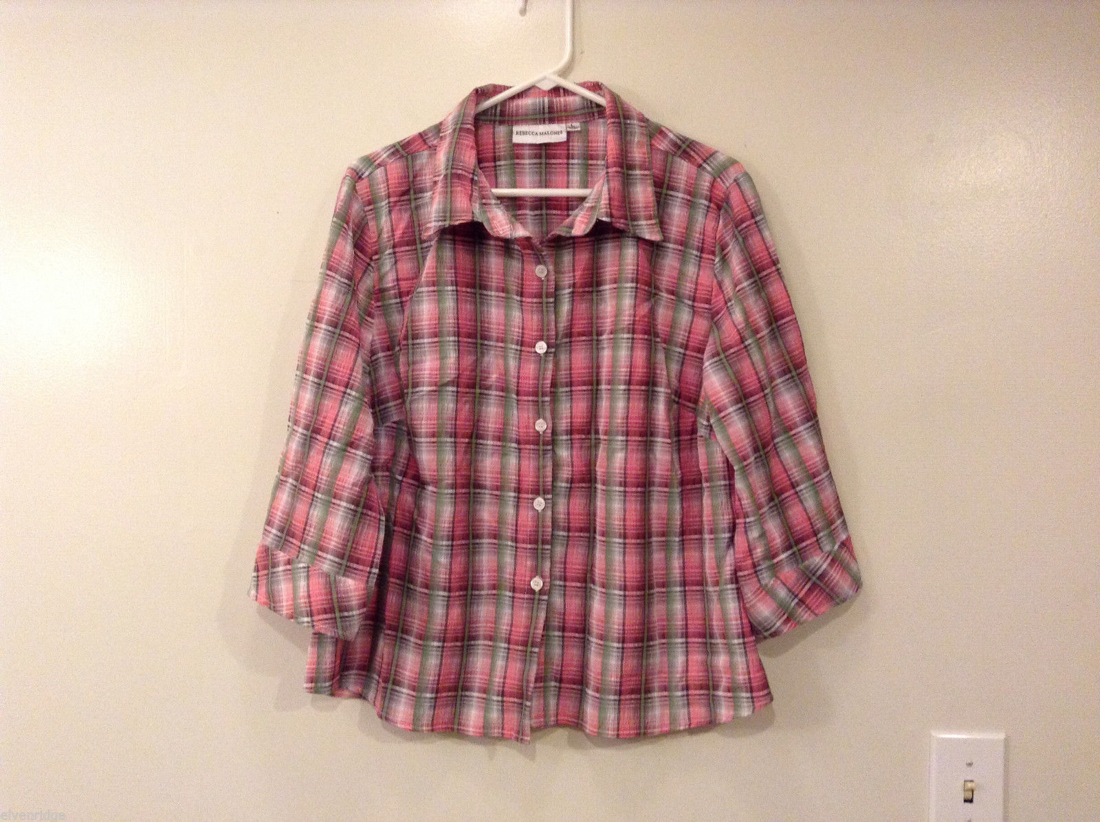 Rebecca Malone Plaid 3/4 Sleeve Shirt Blouse Front Buttons Multicolor, size L