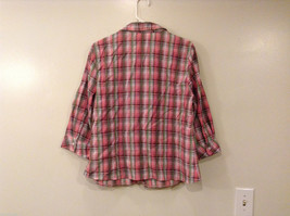 Rebecca Malone Plaid 3/4 Sleeve Shirt Blouse Front Buttons Multicolor, size L image 2
