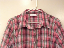 Rebecca Malone Plaid 3/4 Sleeve Shirt Blouse Front Buttons Multicolor, size L image 3