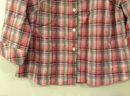 Rebecca Malone Plaid 3/4 Sleeve Shirt Blouse Front Buttons Multicolor, size L image 4