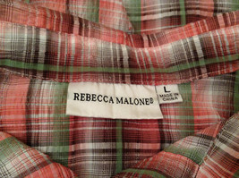Rebecca Malone Plaid 3/4 Sleeve Shirt Blouse Front Buttons Multicolor, size L image 8