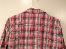 Rebecca Malone Plaid 3/4 Sleeve Shirt Blouse Front Buttons Multicolor, size L image 6