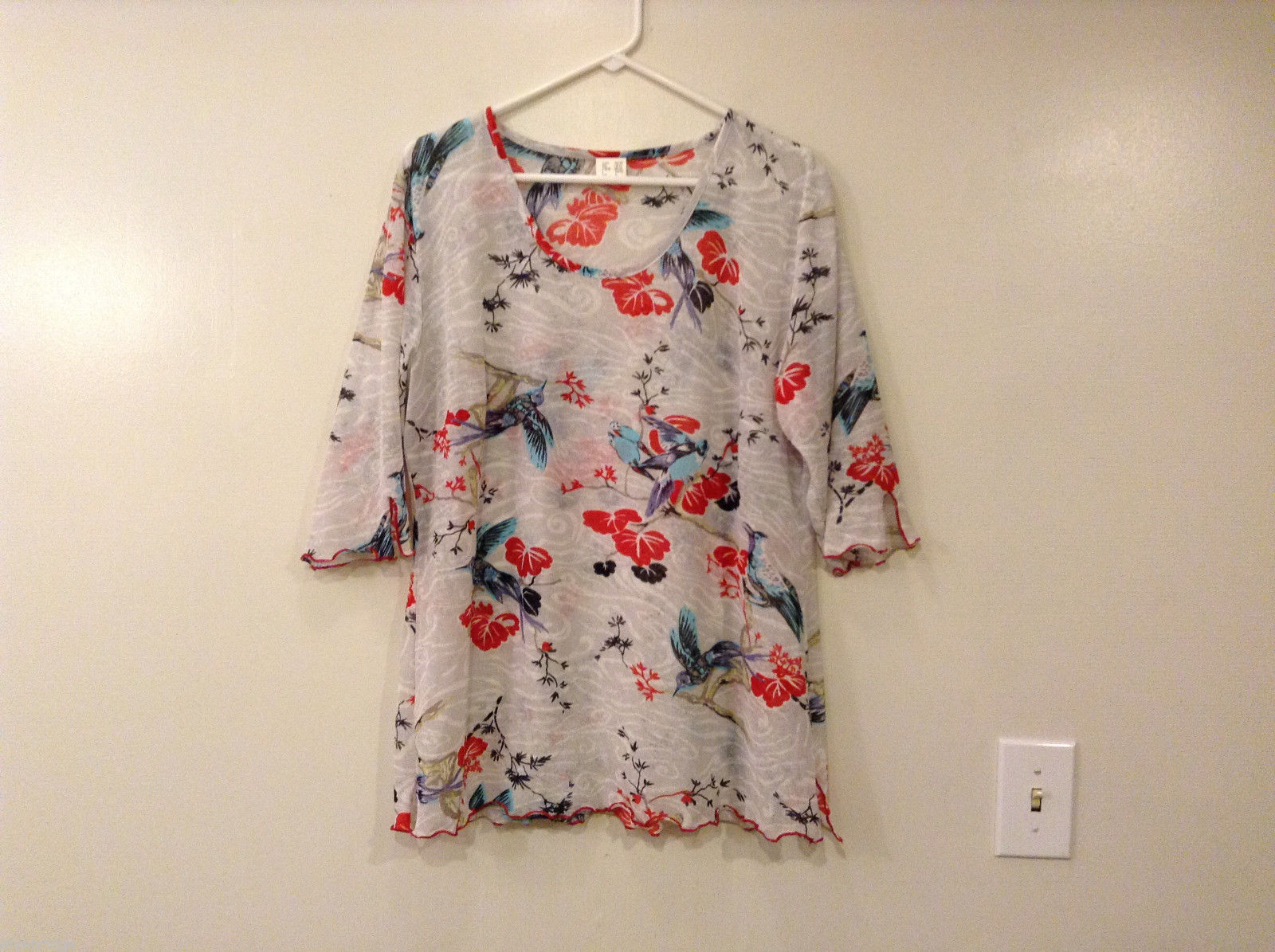 White Lightweight Sheer Fabric with Paradise birds print Blouse Cover up, Size L