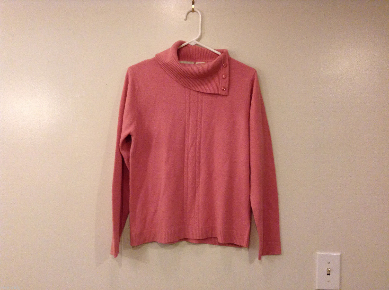 White Stag Pink Asymmetrical Collar Acrylic Sweater Turtleneck Top Size M (8-10)