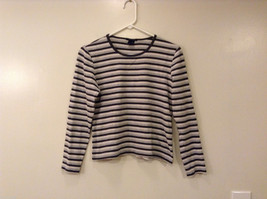Womens GAP Stretch Dark Light Gray White Striped Long Sleeve T-Shirt, Size Small