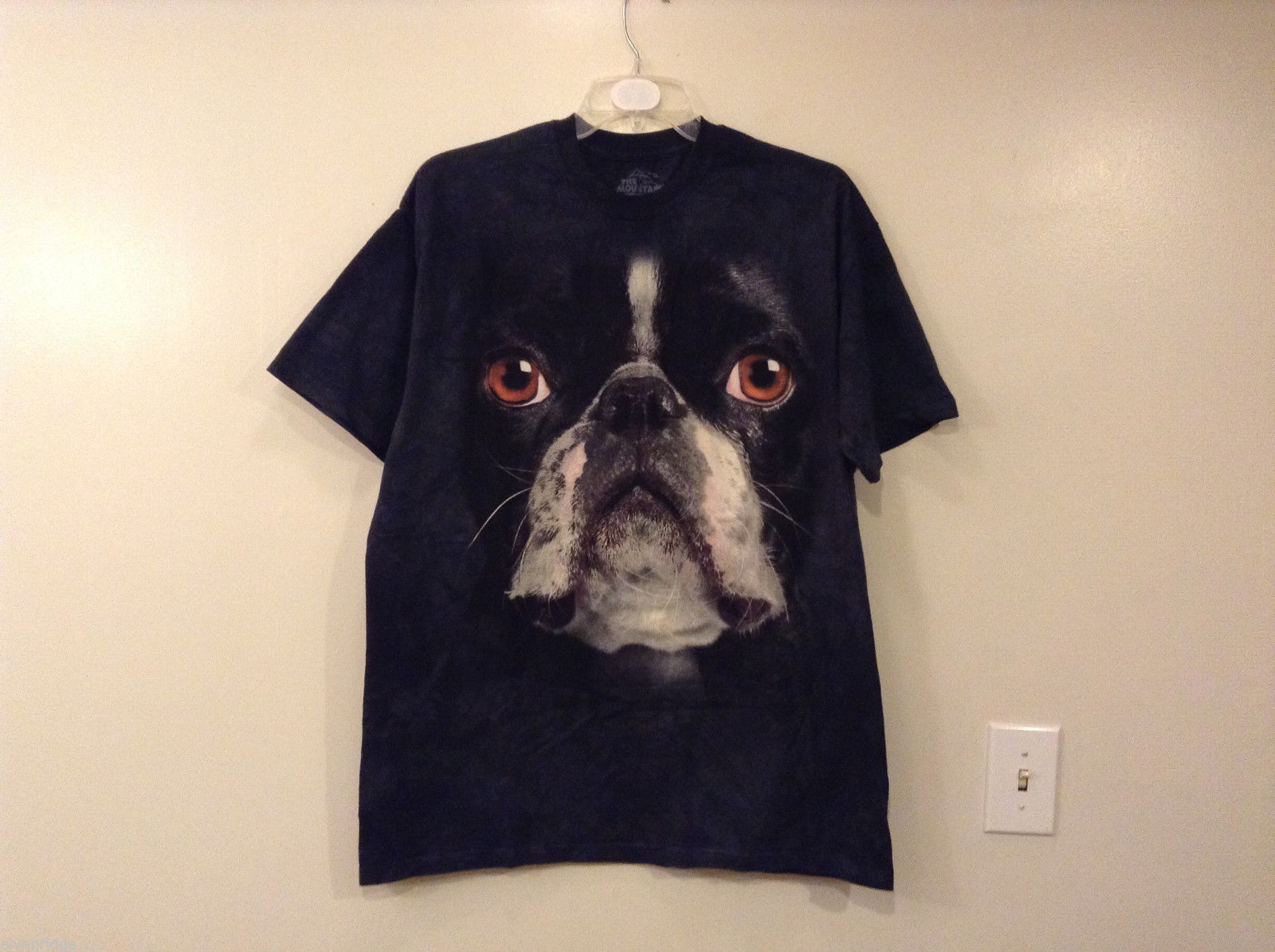 The Mountain Black 100% Cotton Boston Terrier Face Print T-shirt, size XL