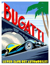 Bugatti 13 x 10 in. Grand Prix Under Bridge Race Car Vintage Giclee Canv... - $19.95