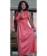 Long Nightgown Salmon Pink with Metallic Accent 4X Grecian Style - $25.00