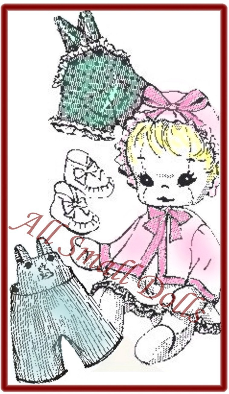 """Vintage Cloth Doll Pattern for 15"""" Baby Doll wi/Layette ~ no"""