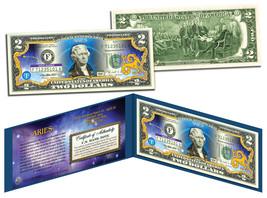 ARIES * Horoscope Zodiac * Genuine Legal Tender Colorized U.S. $2 Bill - $13.95