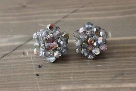 Vintage Joan Rivers Iridescent Bead Earrings  - $13.85