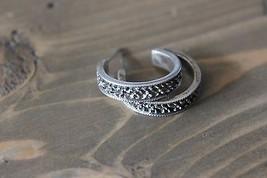 Vintage Sterling Silver Marcasite Hoop Earrings - $22.77