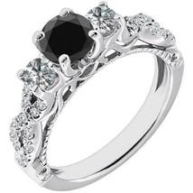 1.75ct Black AAA Diamond Promise Engagement Bridal Ring Set 14K White Gold - £1,011.84 GBP