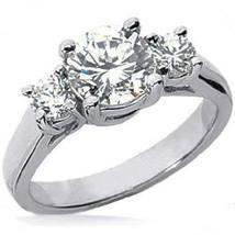 2.04ct 3 Stone Round Diamond Engagement Wedding Ring - $8,116.68