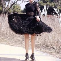 Black Knee Length Layered Tulle Skirt Plus Princess Tulle Skirt Holiday ... - $69.99+