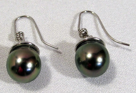 Black Tahitian Pearl Earrings Titanium Mount Wires 9 Grams Spirer-Somes ... - $1,650.00