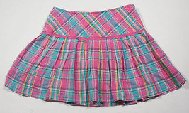 LIMITED TOO GIRLS SIZE 10 SKORT PINK & TURQUOISE BLUE PLAID SHIMMERY - $12.61