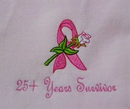 25+ Years Ribbon Rose 2XL Pink Crewneck Sweatshirt Breast Cancer Unisex New - $27.69