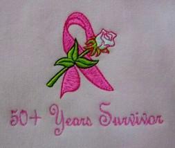 50+ Years Ribbon Rose Sweatshirt Medium Pink Crew Neck Breast Cancer Uni... - $27.69