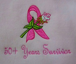 50+ Years Ribbon Rose Sweatshirt L Pink Crew Neck Breast Cancer Unisex New - $27.69