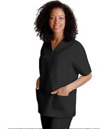 Black VNeck Top Drawstring Pants M Unisex Medical Uniforms 2 Piece Scrub... - $35.61