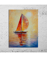 Hand-painted Bright Sun Sailing Boat Seascape oil painting on canvas home decor - $43.55