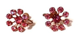 Pink Rhinestone Gold Plated Screw Back Costume Fashion Earrings Vintage - $29.37