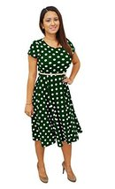 DBG Women's Olive White Polka Dots Short Sleeves Scoop Neck Polyester Dr... - $39.59