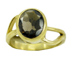 charming Smoky Quartz Gold Plated Brown Ring Natural casually US gift - $9.99